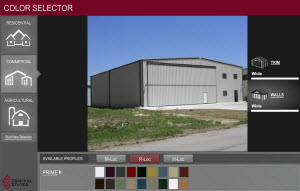 all steel building color selector